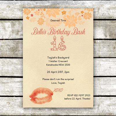 Our Lips Are Sealed: Peach Passion Surprise Party Invitation